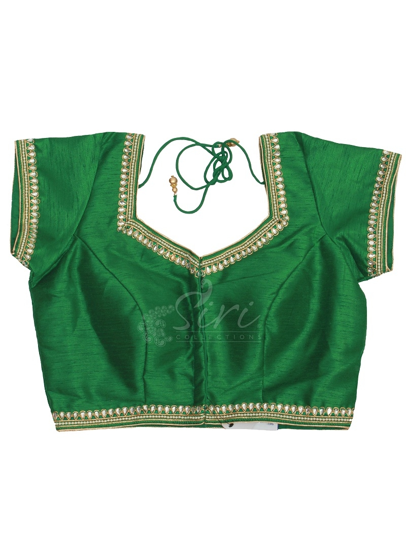 Green Dupion Silk Stitched Blouse In Cups With Stone Pearl