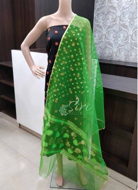 Green Fancy Banarasi Jute Net Dupatta