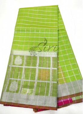 Green Fancy Chanderi Cotton Silk Saree in Silver Zari