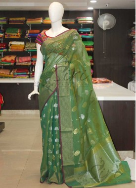 Green Fancy Cotton Silk Saree in Silver Gold Zari Butis