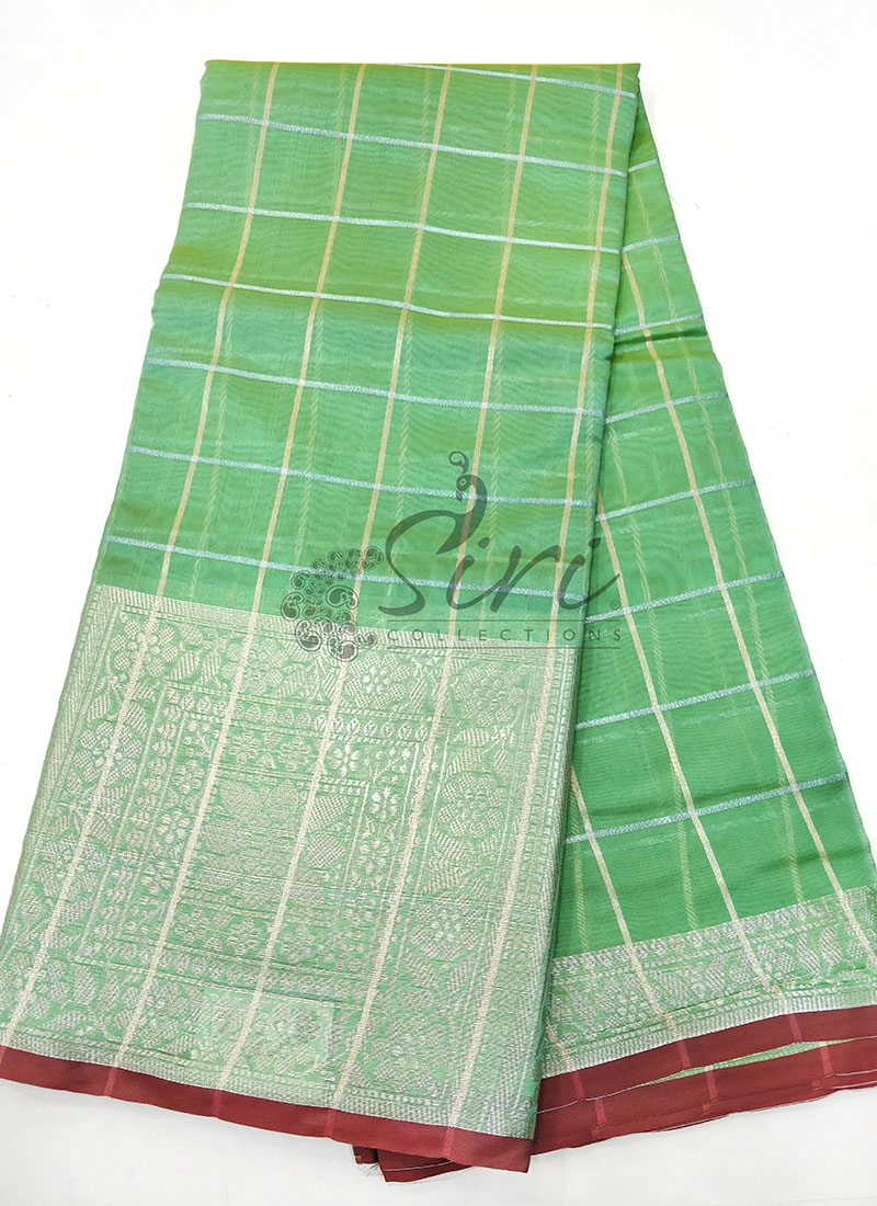 Green Fancy Cotton Silk Saree in Silver Zari