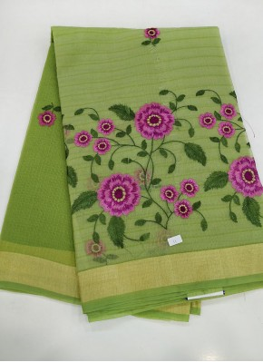 Green Fancy Kota Saree in Embroidery Work