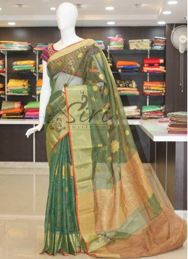 Green Fancy Kota Saree in Jute Border and Pallu