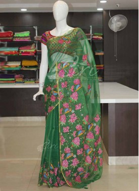 Green Fancy Tissue Kota Saree in Floral Applique Work
