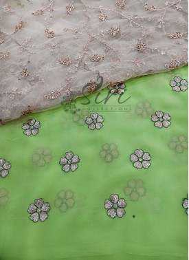 Green Georgette Saree in Gold Flower Embroidery Wo