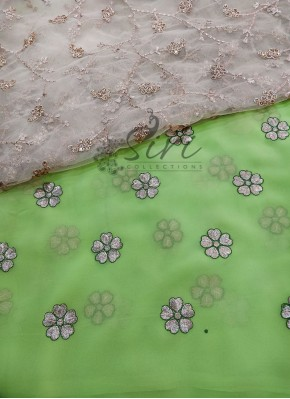 Green Georgette Saree in Gold Flower Embroidery Work Butis with Designer Blouse