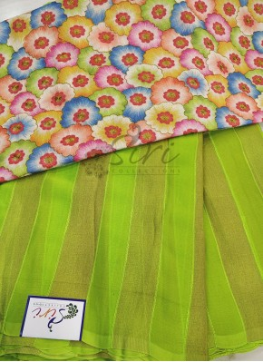 Green Georgette Saree in Self Soft Jute Stripes with Designer Blouse