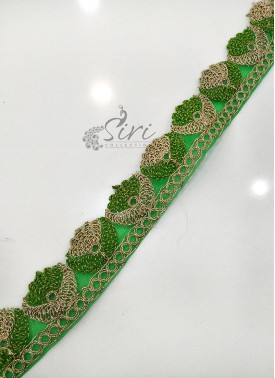Green Gold Border Lace in Cording Cut Work