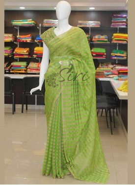 Green Gold Checks Georgette Saree with Designer Blouse