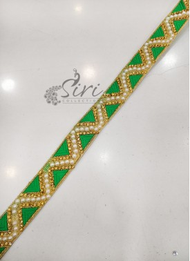 Green Gold Fancy Lace Border in Stone and Pearl Work
