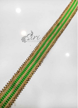 Green Gold Stone Work Fancy Lace Border