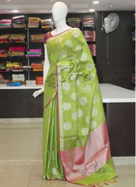 Green Gold Tissue Saree in Silver Zari Butis