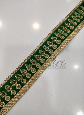 Green Gold Velvet Border Lace in Stone Work and Sequins Work