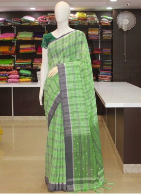 Green Grey Fancy Linen Saree in Mirror Work