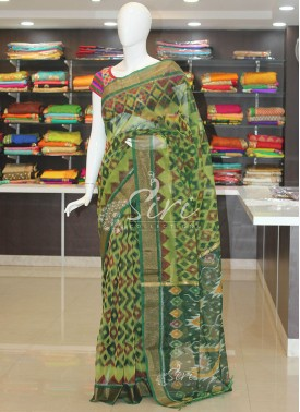 Green Ikat Design Coimbatore Seico Saree