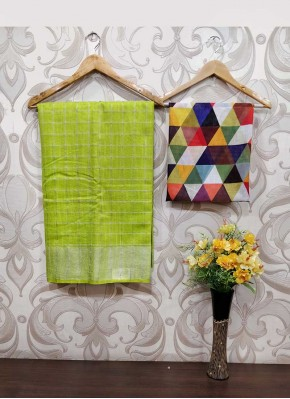 Green Jute Linen Saree Teamed with Digital Print Blouse Fabric