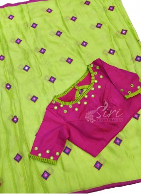 Green Jute Silk Saree in Cross stitch and Mirror Work Butis