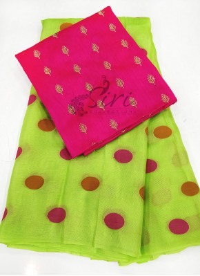 Green Jute Silk Saree in Self Polka Dots