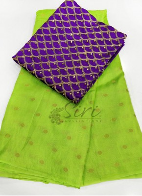 Green Jute Silk Saree in Self  Zari Polka Dots