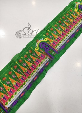 Green Lace Border in Multi Colour Embroidery Work