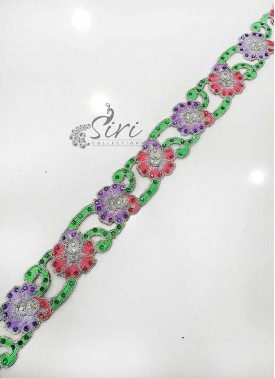 Green Lilac Pink Silver Fancy Cut Work Lace Border