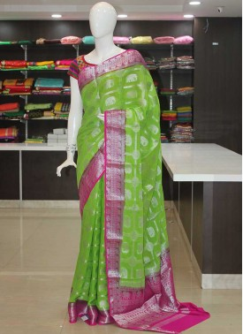 Green Magenta Pink Fancy Banarasi Georgette Saree in Silver Zari