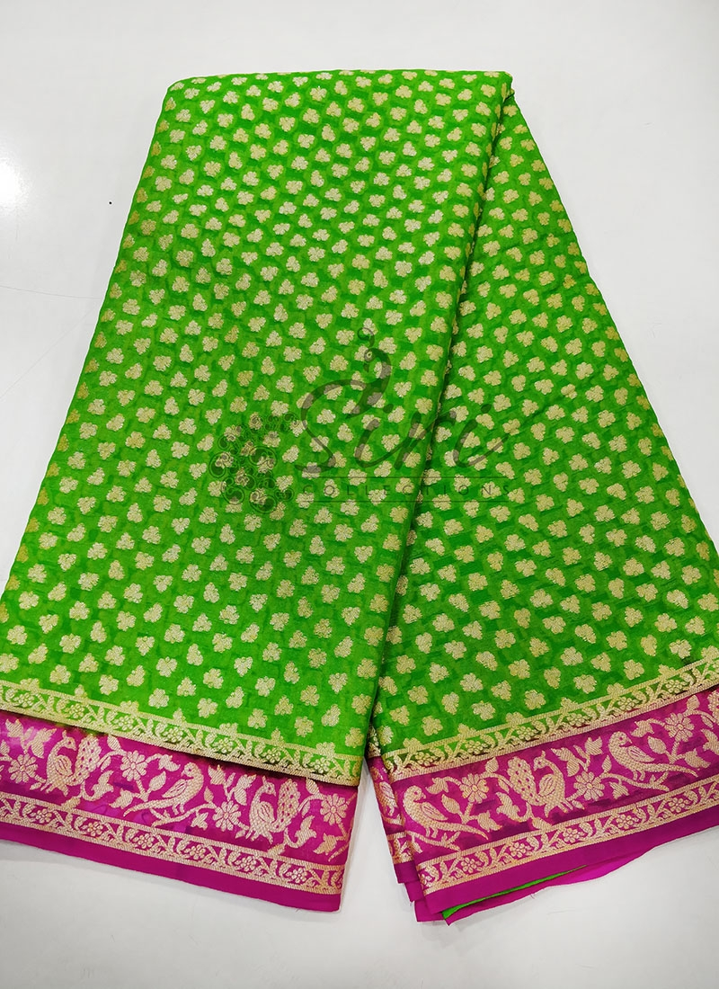 Green Magenta Pure Banarasi Georgette Saree