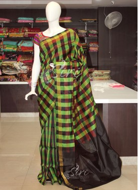 Green Maroon Brown Checks Uppada Pattu Silk Saree