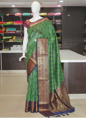 Green Navy Blue Fancy Banarasi Saree in Antique Zari