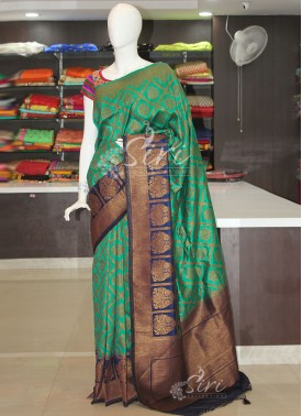 Green Navy Blue Fancy Dupion Silk Saree