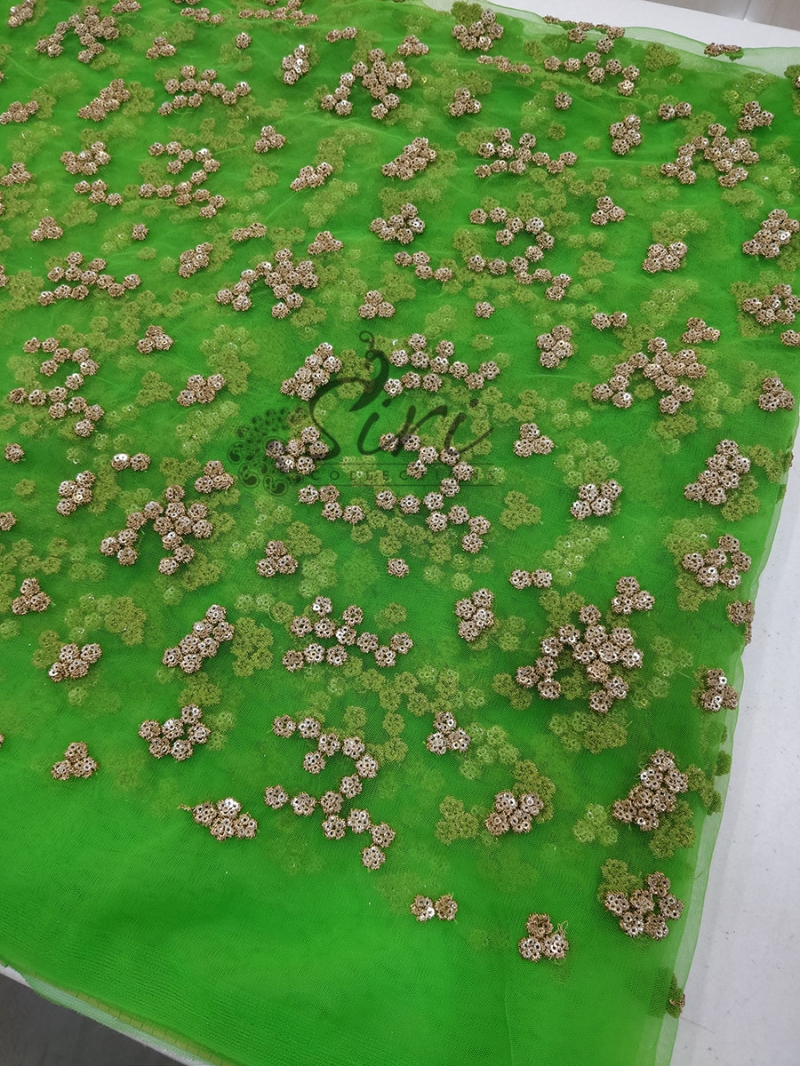 Green Net Fabric in Gold Embroidery and Sequins Work Per Meter