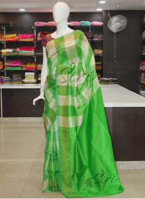 Green Offwhite Checks Uppada Silk Saree