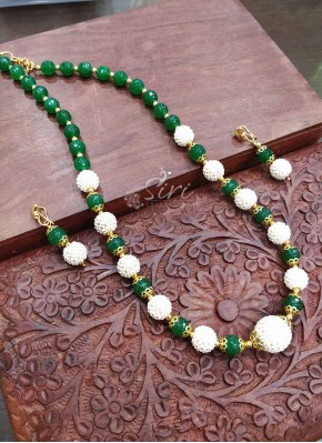 Green Onyx Beads with Small Pearl Design Beads Maala Set