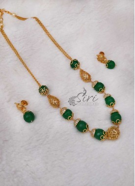 Green Onyx Designer Chain Necklace Set