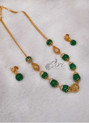 e196f747a Green Onyx Designer Chain Necklace Set
