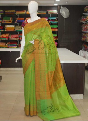 Green Orange Cotton Silk Saree