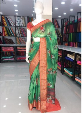 Green Orange Digital Print Fancy Jute Cotton Saree