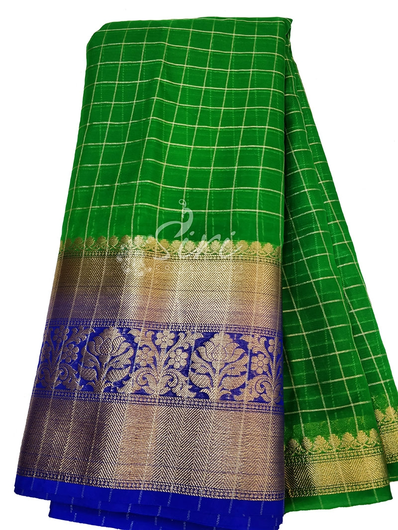 Green Organza Checks Fabric with Kanchi Border per meter