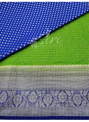 Green Organza Lehenga and Blue Banarasi Silk Blouse Fabric Set