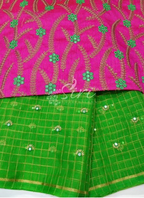 Green Organza Saree with Designer Blouse Fabric