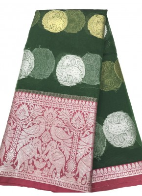 Green Organza Silk Saree in Silver and Gold Butis