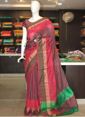 Green Pink Double Shade Cotton Silk Saree