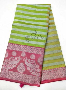 Green Pink Fancy Cotton Silk Saree in Silver Zari