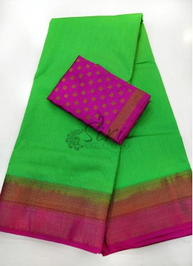 Green Pink Fancy Silk Saree
