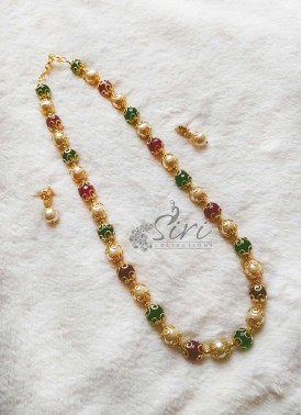 Green Pink Onyx and South Sea Pearl Alike Beads Necklace Set