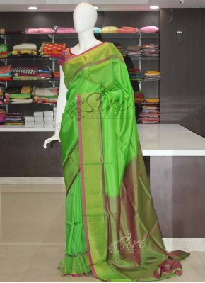 Green Pink Uppada Silk Saree