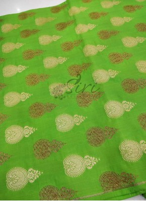 Green Pure Banarasi Silk Fabric in Gold and Antique Zari Butis Per Meter