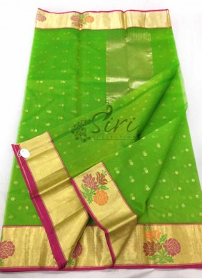 Green Pure Chanderi Silk Saree in Rich Borders