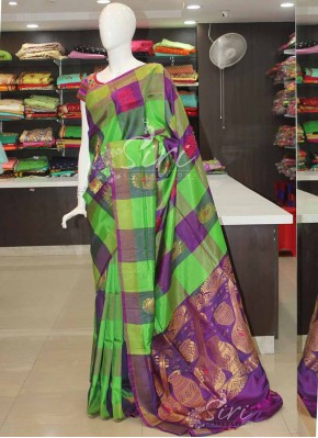 Green Purple Checks and Buti Design Uppada Silk Saree