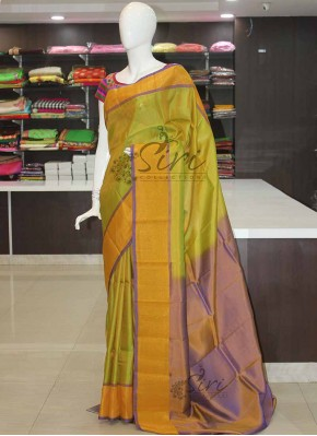 Green Purple Uppada Silk Saree